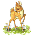 cute cartoon young deer isolated on white vector image