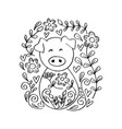 cute pig with floral coloring book year p vector image vector image