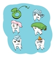 Dental set of tooth health and oral hygiene vector image vector image
