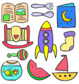 doodle baelement style set vector image vector image