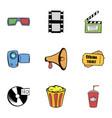 Film icons set cartoon style