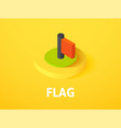 flag isometric icon isolated on color background vector image