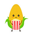funny happy cute smiling corncob vector image