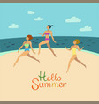girls in bikini are running on the beach vector image vector image