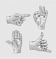 hands line icon set vector image