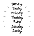 Handwritten days of the week Calligraphic vector image