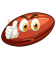 Happy face on rugby ball vector image vector image
