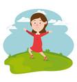 happy girl running in the field vector image