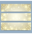 Happy New Year banners with golden snowflakes vector image
