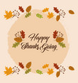 happy thanksgiving day lettering card with vector image vector image