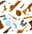 hunting icons pattern with knife axe shotgun in vector image vector image