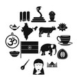india travel icons set simple style vector image