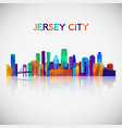 jersey city skyline silhouette vector image vector image