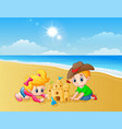 kids making sand castle at the beach vector image