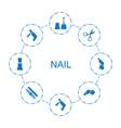 nail icons vector image vector image