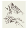 nature drawing mountains ranges and alpine forest vector image vector image