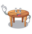 okay cartoon round wooden table in cafe vector image vector image