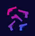 revolver pistol guns silhouettes with gradient vector image