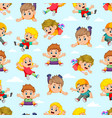 seamless pattern with children flying vector image vector image