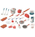 set kitchen utensil foodequipment appliance vector image