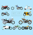 set motorcycle icons retro and modern flat vector image