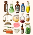 set vintage apothecary and medical supplies vector image vector image