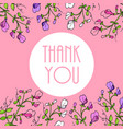 thank you cards with beautiful sweet pea flowers vector image vector image