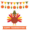 thanksgiving card with a turkey and decoration vector image