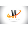 vi v i letter logo with fire flames design and vector image