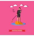 Woman swim on stand up paddle board flat design vector image vector image