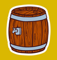 wood barrel icon hand drawn style vector image