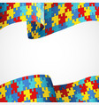 autism awareness colorful puzzle flag vector image