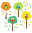 Autumn trees and owls vector image vector image