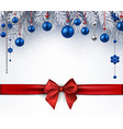 background with christmas balls and red bow vector image vector image