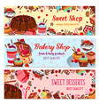 bakery and sweet shop ice cream cafe banner set vector image vector image