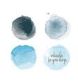 blue colors watercolor paint stains vector image