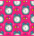 bright alarm clock seamless pattern vector image