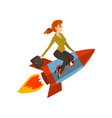 businesswoman on a rocket successful start up vector image
