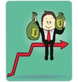 Cartoon businessman carrying the bag of money on vector image vector image