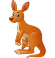 cartoon red kangaroo carrying a cute joey vector image