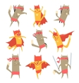 Cat Superhero Character Set vector image vector image
