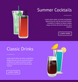 classic drinks summer cocktails colorful posters vector image vector image