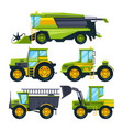 combine harvester and different others vector image vector image