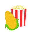 corncob and bucket of popcorn flat vector image vector image