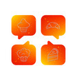 croissant brioche and piece of cake icons vector image