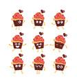 cupcake - set of mascot vector image vector image