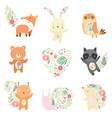 cute animals decorated with floral seamless vector image vector image