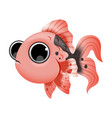 cute cartoon golden fish isolated on white vector image vector image