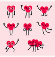 cute heart character design collection vector image vector image