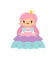 cute little fairytale princess girl with pink hair vector image vector image